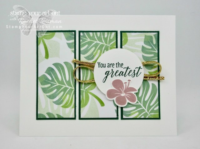 Tropical Escape Tri-Panel Card shows off designer paper in a super fun way. Click here to see how to make this card with the Tropical Chic stamp set, the Tropical Thinlets dies, and the Tropcial Escape Designer Paper…#stampyourartout #stampinup - Stampin' Up!® - Stamp Your Art Out! www.stampyourartout.com