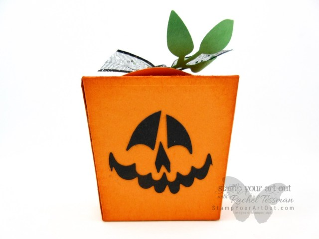 Click here to see how I made this adorable mini Jack-o-lantern/pumpkin treat box with the Spooky Bats Punch & the Takeout Box Dies (both new in the 2018 Holiday Catalog)…#stampyourartout #stampinup - Stampin' Up!® - Stamp Your Art Out! www.stampyourartout.com