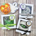 An easy last-minute Halloween gift idea that I put together with the Toil & Trouble designer paper, some coordinating cardstock and glimmer paper, the Spooky Sweets stamp set, some circle punches, fun ribbons, and a few Baker's Boxes!…#stampyourartout #stampinup - Stampin' Up!® - Stamp Your Art Out! www.stampyourartout.com