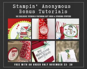 "Stampin' Anonymous Tutorials contain 6 EXCLUSIVE ""better than flat"" projects created by some very talented Stampin' Up! demonstrators. This exclusive bundle is only being offered during the November 23-28, 2018 Online Extravaganza! Place an order with me within those days, and get this set of stocking stuffer/Christmas gift tutorials for free! This bundle will not be offered for sale…#stampyourartout #stampinup - Stampin' Up!® - Stamp Your Art Out! www.stampyourartout.com"