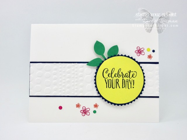 Cupcakes? Not on this card. But it features the Hello Cupcake stamp set, a free level one 2019 Sale-a-Bration pick. Click here to learn more and get the details for recreating this simple and sweet card! #stampyourartout #stampinup - Stampin' Up!® - Stamp Your Art Out! www.stampyourartout.com