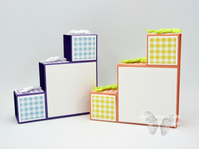"""Click here to see five versions of my Baby Blocks/Stair Step 3-D fun-fold card that I made with the Gingham Gala Designer Paper and the First Steps Stamp Set from the 2019 Occasions Catalog! I altered the measurements that I've seen in other similar cards so they fit in a standard A2 envelope (when folded flat they measure 4-1/8"""" x 5-1/2""""). I'm super excited to share with you. Be sure to watch the how-to video too, so you can see all my tips and tricks and get the step-by-step directions! #stampyourartout #stampinup - Stampin' Up!® - Stamp Your Art Out! www.stampyourartout.com"""