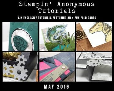 """Stampin' Anonymous Tutorials contain 6 EXCLUSIVE """"better than flat"""" projects (fun fold cards or 3-D items) created by myself and 5 other talented Stampin' Up! demonstrators. Place an order in the month of May, and get this bundle for free! Or choose the option to purchase any of the bundles for just $9.95. #stampyourartout #stampinup - Stampin' Up!® - Stamp Your Art Out! www.stampyourartout.com"""