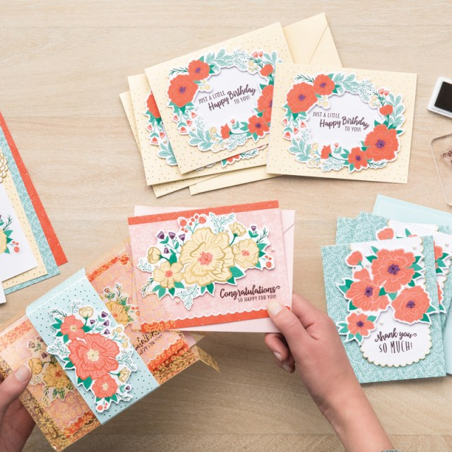 Card kits are a great way to let lots of product for less. The Made to Bloom kit (a product retiring soon from the 2019 Occasions Catalog) produces beautiful cards in no time! I decided to put a little creative twist on a couple of my kit cards. Click here to see two card variations I made from the kit's intended cards. #stampyourartout #stampinup - Stampin' Up!® - Stamp Your Art Out! www.stampyourartout.com