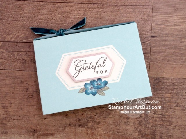 "Click here to see & get details about how to make a gratitude book from eight pretty kit envelopes and a sweet gift box from one of the note cards in the May 2019 Hugs From Shelli Paper Pumpkin Kit. Plus you can see several other alternate project ideas created with this kit in our blog hop: ""A Paper Pumpkin Thing""! #onestopbox #stampyourartout #stampinup - Stampin' Up!® - Stamp Your Art Out! www.stampyourartout.com"