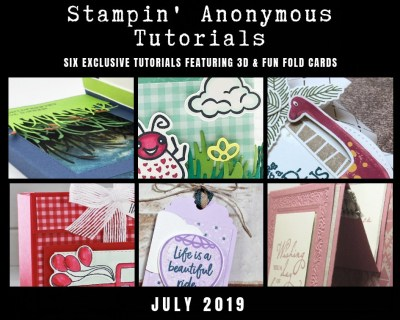 """Stampin' Anonymous Tutorials contain 6 EXCLUSIVE """"better than flat"""" projects (fun fold cards or 3-D items) created by myself and 5 other talented Stampin' Up! demonstrators. Place an order in the month of July, and get this bundle for free! Or choose the option to purchase any of the bundles for just $9.95. #stampyourartout #stampinup - Stampin' Up!® - Stamp Your Art Out! www.stampyourartout.com"""