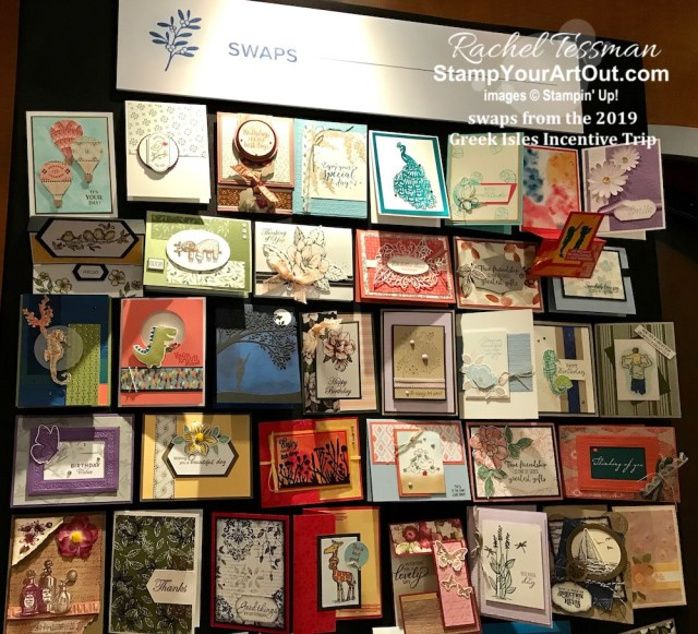 Photos of the swap boards, several of the swaps I received, and photos of a couple gifts I was given by fellow demonstrators during the 2019 Greek Isles Stampin' Up! Incentive Trip. #stampyourartout #stampinup - Stampin' Up!® - Stamp Your Art Out! www.stampyourartout.com