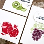 "I've made three coordinating notecards with the Slice of Happiness stamp set. These images are ""distinkive,"" so they have a special texture that gives added depth and dimension with a single impression. Click here to get measurements, directions, and a supply list linked to my online store. #stampyourartout #stampinup - Stampin' Up!® - Stamp Your Art Out! www.stampyourartout.com"