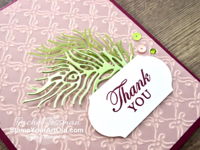 I embossed a piece of Perennial Essence Vellum to share the awesome new Stylish Scroll Embossing Folder from the Monster Bash Suite in my box opening event for the 2019 Holiday Catalog. And then I used it to make card that has nothing to do with Halloween. Click here to get directions, measurements and a list of supplies I used linked to my online store. #stampyourartout #stampinup - Stampin' Up!® - Stamp Your Art Out! www.stampyourartout.com