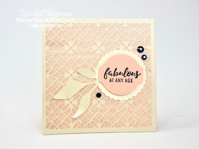 The Shimmer Detailed Laser-Cut Paper is a must-have! You can use as a layer, an accent, a frame or an embellishment on your cards and other paper crafting projects. Click here to see two cards I made with this fun paper, the Perennial Essence Designer Paper, the Holiday Rhinestone Basic Jewels, and images from the Itty Bitty Greetings Stamp Set. Access directions, measurements and a list of supplies I used linked to my online store. #stampyourartout #stampinup - Stampin' Up!® - Stamp Your Art Out! www.stampyourartout.com