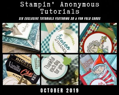 """Stampin' Anonymous Tutorials contain 6 EXCLUSIVE """"better than flat"""" projects (fun fold cards or 3-D items) created by me and 5 other talented Stampin' Up! demonstrators. Place an order in the month of October, and get this bundle for free! Or choose the option to purchase any of the bundles for just $9.95. - Stampin' Up!® - Stamp Your Art Out! www.stampyourartout.com"""