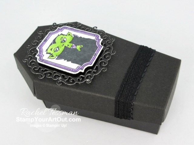 What else can you make with the adorable coffin treat box from the Monster Bash Suite in the 2019 Holiday Catalog? How about a tombstone treat box?! Click here to see two vampire coffin boxes, a tombstone box (the coffin turned upright), and a coordinating tombstone gift card. - Stampin' Up!® - Stamp Your Art Out! www.stampyourartout.com