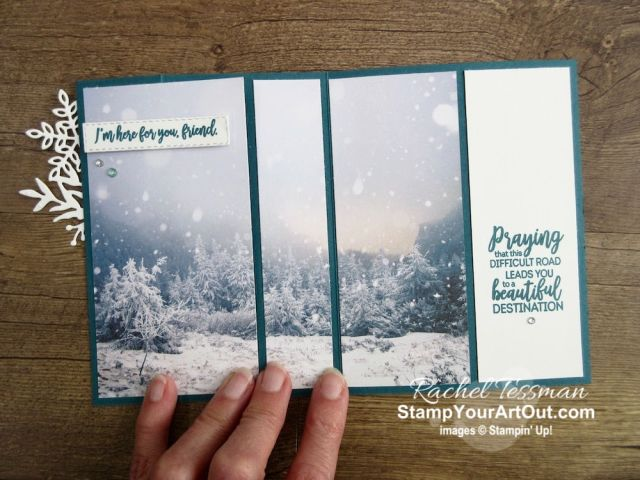 """Click here to see a unique z-fold card that I'm calling the 3-Panel Scenery Z-Fold. This is a great way to show off connected images or multiple images when you want to use a full 6"""" wide piece of designer paper (I used the beautiful Feels Like Frost Designer Paper). You'll be able to watch my video so you can see all my tips and tricks and get the step-by-step directions. You'll also be able to access measurements, see other close-up photos, and get links to all the products I used. - Stampin' Up!® - Stamp Your Art Out! www.stampyourartout.com"""