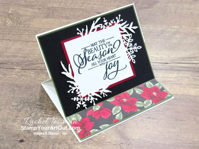 Magnolia Lane turned Christmas! I created an easel card using the Magnolia Lane designer paper, the Stampin' Blends Markers, the Merry Christmas to All Stamp Set, and the Frosted Frames Dies. Click here for directions, measurements, and a list of supplies I used linked to where you can purchase them in my online store. - Stampin' Up!® - Stamp Your Art Out! www.stampyourartout.com