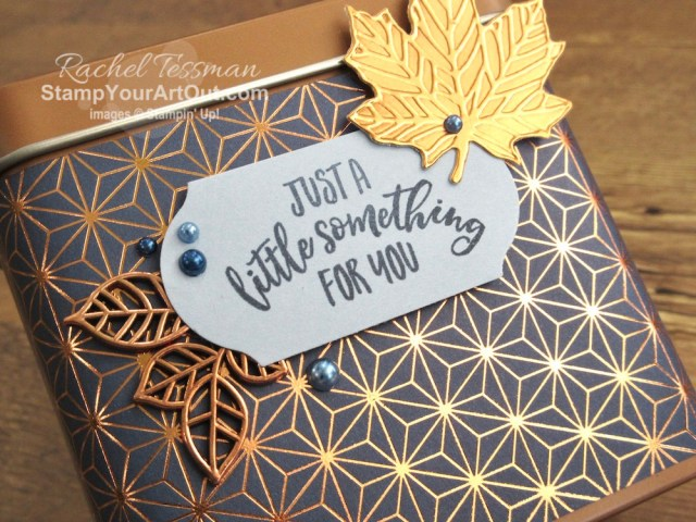 I made a sweet and striking gift tin with the Brightly Gleaming Designer Paper, Leaves Trinkets, Copper Foil and Gathered Leaves Dies, Blends Markers, Pearls, and the Copper Tea Tin. Click here for directions, measurements, and a list of supplies I used linked to where you can purchase them in my online store. - Stampin' Up!® - Stamp Your Art Out! www.stampyourartout.com