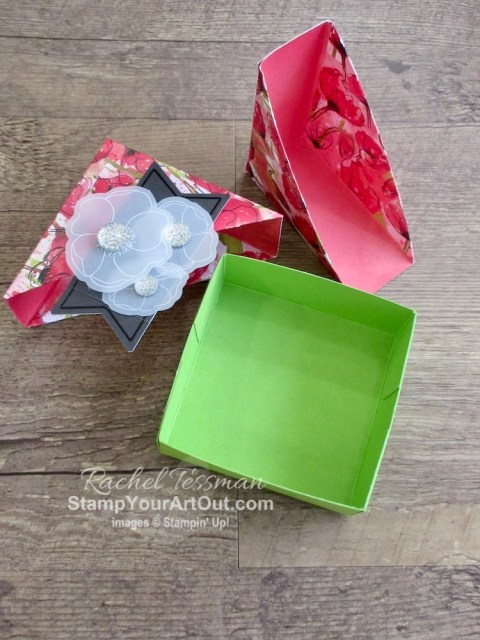 I converted the measurements of Julie DiMatteo's adorable Diagonal-Lidded Gift Box and created a smaller version. These boxes still are a decent size but allow you to use your sheets of paper/cardstock more efficiently if you are making several. Click here to see four versions of the smaller box, measurements, a how-to video with directions, and links to the products I used to make the Birthday Bonanza ones. - Stampin' Up!® - Stamp Your Art Out! www.stampyourartout.com