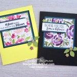 Best Dressed Designer Paper, Faceted Gems, the Leaf Punch, and Product Giveback images make quick and easy cards. Access more photos, measurements, tips, and a supply list by clicking here. Stampin' Up!® - Stamp Your Art Out! www.stampyourartout.com