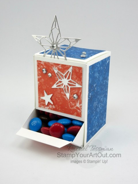 "Click here to see how I turned a 9"" x 8-1/2"" sheet of cardstock into an adorable 2"" x 2"" x 3"" candy dispenser box. The four I share feature the Whale of a Time Designer Paper and some coordinating products. But you could really apply this box idea to so many other products. You'll be able to access measurements, a how-to video with tips and tricks, other close-up photos, and links to all the products I used. - Stampin' Up!® - Stamp Your Art Out! www.stampyourartout.com"
