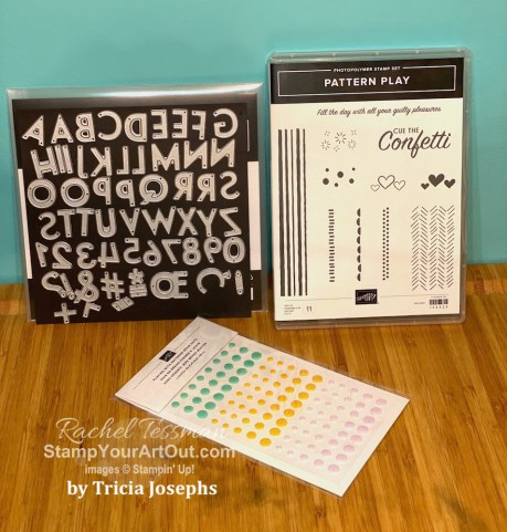 My Stampers With ART Showcase Stamper for the month of July 2020 created some bright and cheerful projects with the Pattern Play Stamp Set, Playful Alphabet Dies, and other items from the Playing With Patterns Suite (Resin Dots, Designer Series Paper & Ribbons). Click here to see all these creations from Tricia Josephs. - Stampin' Up!® - Stamp Your Art Out! www.stampyourartout.com