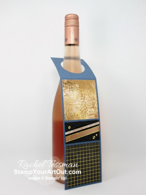 It's fun to embellish bottles of gifted vino with wine bottle tags. I made these with products from the World of Good Suite and coordinating products. Access more photos, measurements, directions, a downloadable PDF, and a supply list by clicking here. Stampin' Up!® - Stamp Your Art Out! www.stampyourartout.com