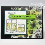 "I made this ""Cheers to You"" card with images from the Whiskey Business Stamp Set, Magic In This Night designer paper, and the Blue Adhesive-backed Gems. Access directions, more photos, measurements, and links to the products I used. - Stampin' Up!® - Stamp Your Art Out! www.stampyourartout.com"