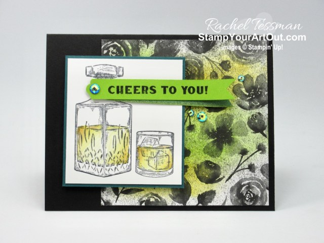 """I made this """"Cheers to You"""" card with images from the Whiskey Business Stamp Set, Magic In This Night designer paper, and the Blue Adhesive-backed Sequins. Access directions, more photos, measurements, and links to the products I used. - Stampin' Up!® - Stamp Your Art Out! www.stampyourartout.com"""