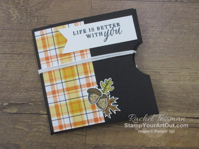 Click here to see how I used the Beautiful Autumn Stamp Set, the Autumn Punch Pack, and the Plaid Tidings Designer Paper to make a folded face mask card/holder. (I got this idea by my friend Verla got this idea from Fannyscrap Stampin on YouTube.) You'll be able to access measurements, the how-to video, other close-up photos, and links to the products I used. - Stampin' Up!® - Stamp Your Art Out! www.stampyourartout.com
