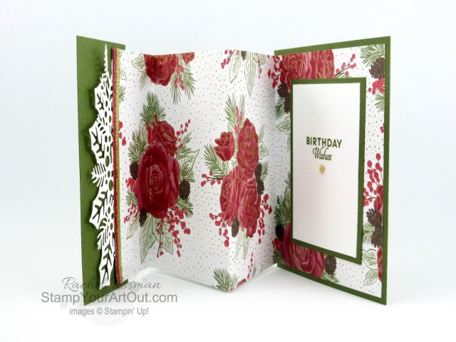 See how to make five different card variations from one folded piece of designer paper! I used the Christmastime is Here Designer Paper to make two non-Christmas cards (a birthday card and a get well card). Click here to access measurements, directions, a how-to video, other close-up photos, and links to the products I used. - Stampin' Up!® - Stamp Your Art Out! www.stampyourartout.com