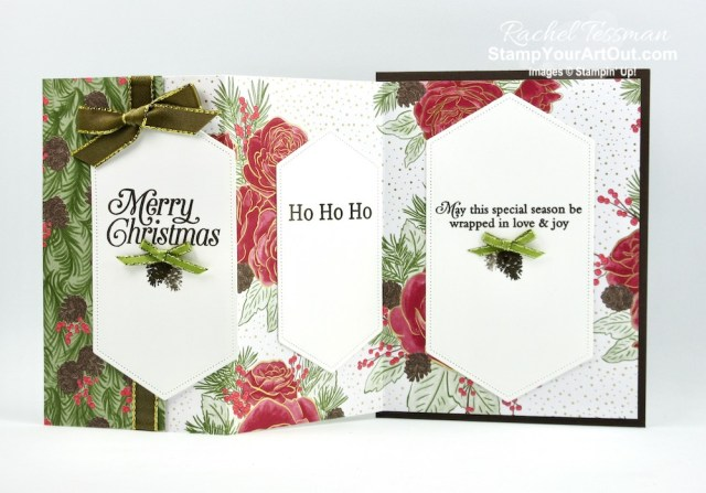 See how to make five different card variations from one folded piece of designer paper! I shared two finished cards with one of the folds a few days ago. And now I have finished versions of the four other folds. All of these feature the Christmastime is Here Designer Paper. Click here to access measurements, directions, a link to the how-to video from a previous post, other close-up photos, and links to the products I used. - Stampin' Up!® - Stamp Your Art Out! www.stampyourartout.com