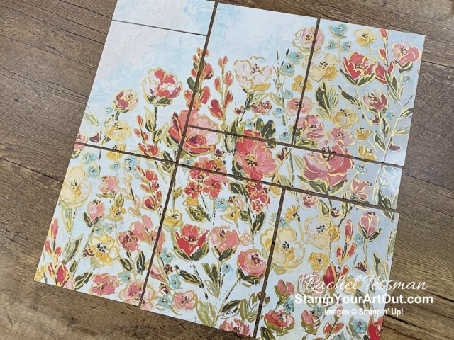 I've layered the Golden Garden Designer Acetate over the coordinating sheets of Fine Art Floral Designer Paper and then simple cut them together to get stunning backgrounds on my handmade greeting cards. Access directions, more photos, measurements, and links to all the products to you can make them, too. - Stampin' Up!® - Stamp Your Art Out! www.stampyourartout.com