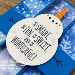 Click here to see a kid's winter birthday card that I made with the Snowflake Spendor Designer Paper, Snowman Season Stamp Set, Grand Kid Stamp Set, and some punches. I'm calling it a stretch card because of the way it unfolds into one long display piece. You'll be able to access measurements, a how-to video with tips and tricks, other close-up photos, and links to all the products I used. - Stampin' Up!® - Stamp Your Art Out! www.stampyourartout.com