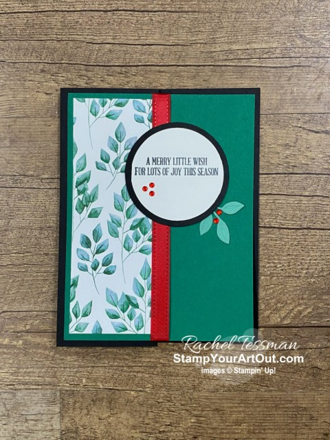 I made my 2020 team holiday cards with the Forever Greenery Designer Paper, leaf clusters from the Wreath Builder Dies, and sentiment images from A Wish For Everything Stamp Set. Then I made a similar layout with a Valentine theme using the Flower and Field Designer Paper, images from the Hearts & Kisses Stamp Set, and hearts punched with the coordinating Kiss Punch to show how you can adapt a layout you like to other products you have (or may want to get!). Access more photos, measurements, directions, and a supply list by clicking here. - Stampin' Up!® - Stamp Your Art Out! www.stampyourartout.com