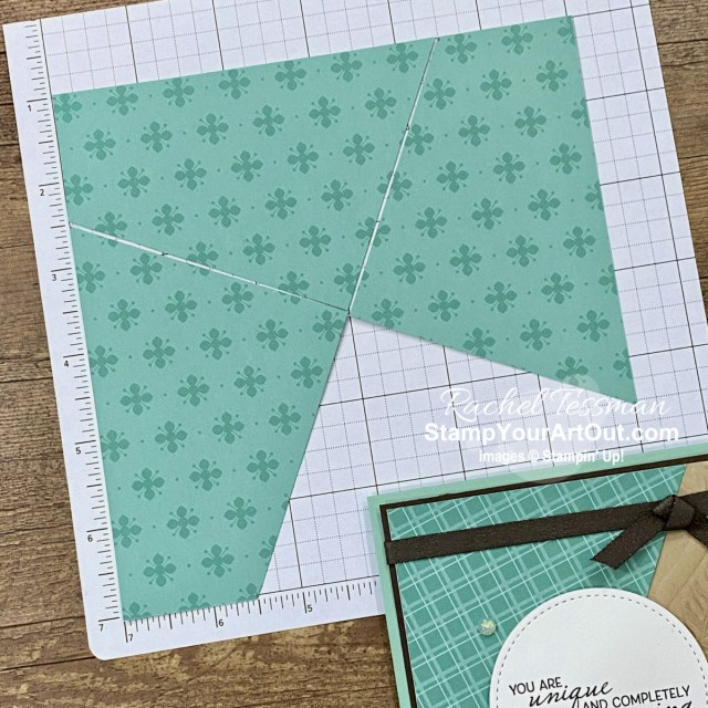 """To easily make angled corner layer cards, mark 6"""" x 6"""" designer paper 1-1/2"""" in on the left on all four sides. Connect the marks and cut. - Stampin' Up!® - Stamp Your Art Out! www.stampyourartout.com"""