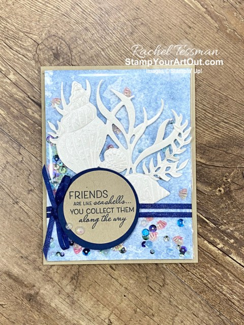 Click here to learn how to make this faker shaker card with fun new products that debuted in the Jan-June 2021 Mini Catalog and Sale-a-Bration Brochure: Friends Are Like Seashells Stamp Set, Seaside Seashells Dies, Seashells Embossing Folder, Pearlescent Paper, and the Sand & Sea Designer Paper. Click here to access measurements, other photos, links to the products I used, and tips and directions in my how-to video. - Stampin' Up!® - Stamp Your Art Out! www.stampyourartout.com