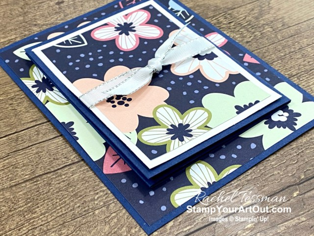 Here is a fun fold card that is a different take on the traditional z-fold. I used the In Bloom Stamp Set, Pierced Blooms Dies, and coordinating Paper Blooms Designer Paper (which is one of the free Jan-Feb 2021 Sale-a-Bration picks with a $50 purchase). Access directions, more photos, measurements, and links to all the products so you can make them, too. - Stampin' Up!® - Stamp Your Art Out! www.stampyourartout.com