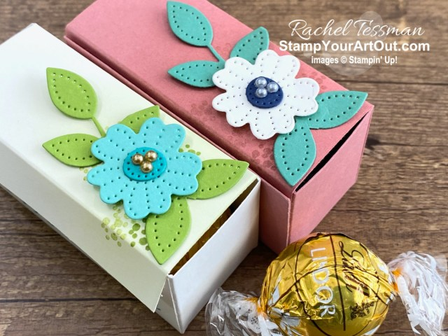 Would you like to learn how to make a 2-compartment gift/treat box using a square piece of paper/cardstock? I created small ones and large ones using coordinating products from the Jan-June 2021 Mini Catalog and Jan-Feb 2021 Sale-a-Bration Brochure: In Bloom Stamp Set, Pierced Blooms Dies, and Paper Blooms Designer Paper. Click here to access measurements, directions, a link to the how-to video, other close-up photos, and links to the products I used. - Stampin' Up!® - Stamp Your Art Out! www.stampyourartout.com