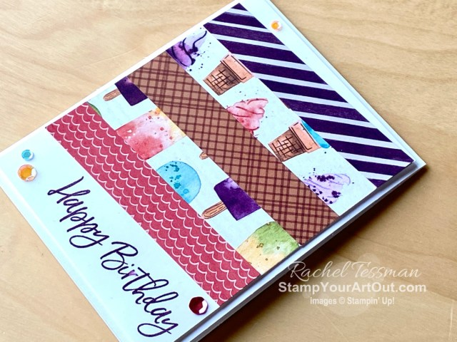 I wanted to showcase many patterns in the Ice Cream Corner Designer Paper and make a simple and quick birthday card. So I CASEd a layout from one of my swaps. Access more photos, measurements, directions, and a supply list by clicking here. - Stampin' Up!® - Stamp Your Art Out! www.stampyourartout.com