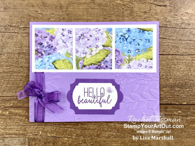 This Half Front 3-Panel Card is fun and easy to make! I shared three versions of this card on my blog. The two I made feature the Berry Blessings and the Forever Greenery Designer Paper. The purple one made by Lisa Marshall features the Hydrangea Hill Designer Paper. Access directions, more photos, measurements, and links to the products so you can make them, too. - Stampin' Up!® - Stamp Your Art Out! www.stampyourartout.com