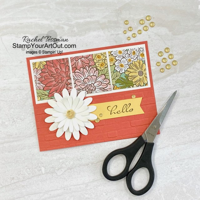 This Half Front 3-Panel Card is fun and easy to make! This fold is also called a Dutch Door or Barn Door fold. I shared three versions of this card on my blog earlier. This one is shows off the beautiful Ornate Garden Designer Paper, the fun Daisy punches, the soon-to-be-retiring Terracotta Tile color, and a fun and easy way to use Gilded Leafing. Access directions, more photos, measurements, and links to the products so you can make them, too. - Stampin' Up!® - Stamp Your Art Out! www.stampyourartout.com