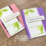"I've made two ""leaf banner"" birthday cards with the In Bloom Stamp Set and the Hydrangea Hill Mercury Acetate. Access more photos, measurements, directions, a downloadable PDF tutorial, and a supply list by clicking here. - Stampin' Up!® - Stamp Your Art Out! www.stampyourartout.com"