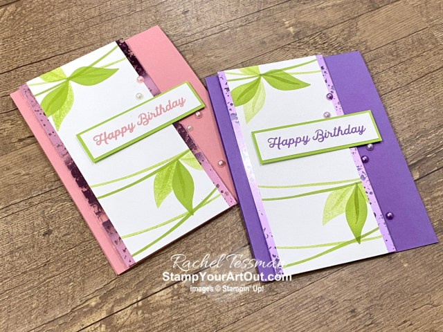 """I've made two """"leaf banner"""" birthday cards with the In Bloom Stamp Set and the Hydrangea Hill Mercury Acetate. Access more photos, measurements, directions, a downloadable PDF tutorial, and a supply list by clicking here. - Stampin' Up!® - Stamp Your Art Out! www.stampyourartout.com"""