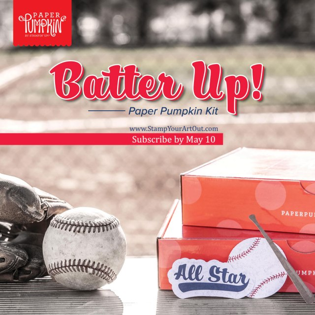 "Sign up by May 10th to get the next exclusive Paper Pumpkin Kit! Step up to the plate, take a swing, and knock it out of the park! With the Batter Up! Paper Pumpkin Kit, it's your turn to go to bat for all the people who've gone to bat for you. This month's timeless kit with a ""throwback"" theme contains enough grand slam supplies to create nine 4-1/4"" x 5-1/2"" cards (3 of 3 designs) featuring classic colors, pinwheel and pinstripe patterns, and vintage-washed paper pieces. There's no ""batter"" way to root, root, root for your home team and honor the all-stars in your life! Each kit also contains a couple sticks of the chewy staple - the official bubble gum of the MLB! Chew while you craft, slide a piece into a card, or save it for later - Stampin' Up!® - Stamp Your Art Out! www.stampyourartout.com"