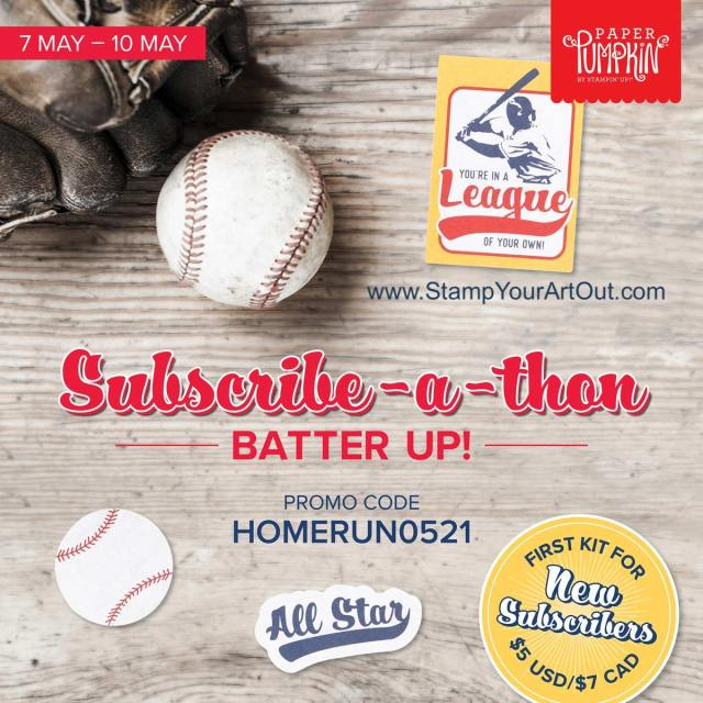 "Sign up by May 10th to get the next exclusive Paper Pumpkin Kit! New subscribers can get this kit for $5 using the code: HOMERUN0521  Step up to the plate, take a swing, and knock it out of the park! With the Batter Up! Paper Pumpkin Kit, it's your turn to go to bat for all the people who've gone to bat for you. This month's timeless kit with a ""throwback"" theme contains enough grand slam supplies to create nine 4-1/4"" x 5-1/2"" cards (3 of 3 designs) featuring classic colors, pinwheel and pinstripe patterns, and vintage-washed paper pieces. There's no ""batter"" way to root, root, root for your home team and honor the all-stars in your life! Each kit also contains a couple sticks of the chewy staple - the official bubble gum of the MLB! Chew while you craft, slide a piece into a card, or save it for later - Stampin' Up!® - Stamp Your Art Out! www.stampyourartout.com"