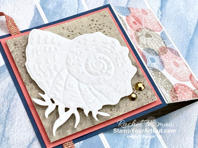 Click here to see a version of the fun fold card I received from Sara & Shelli when I hit my million-dollar sales milestone using products from the Sand & Sea Suite: Friends Are Like Seashells Stamp Set, the Seaside Seashells Dies, the Seashells Embossing Folder, the Opal Rounds, and the Sand & Sea Designer Paper. Access measurements, more photos, a how-to video with directions, and links to the products I used.  - Stampin' Up!® - Stamp Your Art Out! www.stampyourartout.com