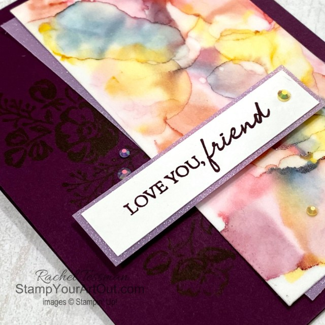 Click here to see how to use Stampin' Blends Markers, high concentration isopropyl alcohol, and various tools and products to get some stunning alcohol ink art designs to use as designer paper. I walk you through the basics. But I also share a couple creative options and tips for those who have already started playing with this technique. Access measurements, more photos, a how-to video with directions, and links to the products I used.  - Stampin' Up!® - Stamp Your Art Out! www.stampyourartout.com