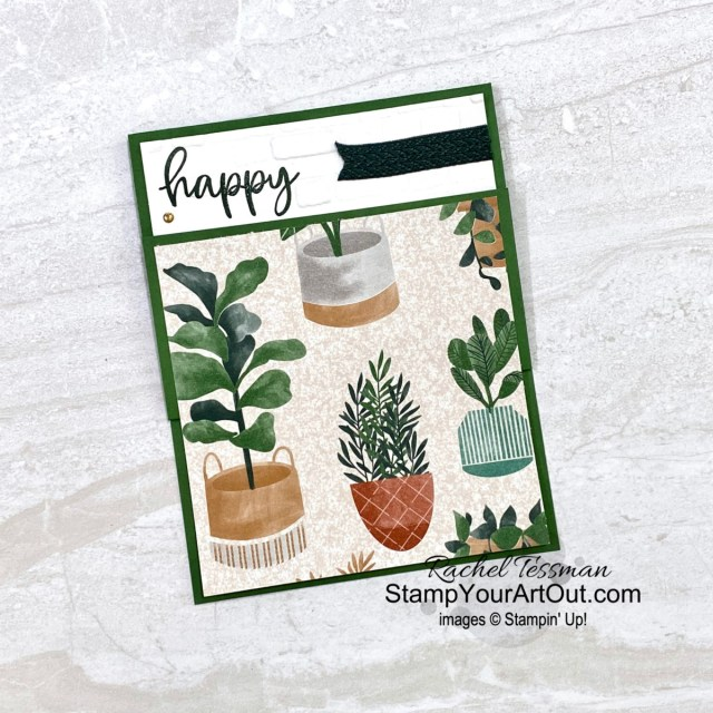 Click here to get directions for making this vertical z-fold card featuring products from the 2021-22 Annual Catalog: the Biggest Wish Stamp Set, the Bloom Where You're Planted Designer Paper, and the 2021-23 In Color Shimmer Vellum. Access more photos, measurements, directions, and a supply list by clicking here. - Stampin' Up!® - Stamp Your Art Out! www.stampyourartout.com