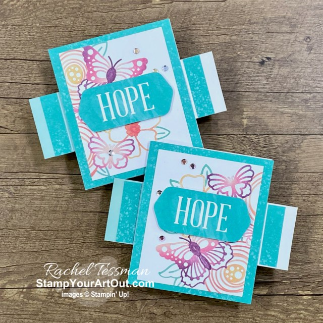 """I'm excited to share with you some alternate project ideas I came up with using the contents of the August 2021 """"Hope Box"""" Paper Pumpkin Kit: Doubling the kit by turning the envelopes into more cards, a hope jar (mini 3-D gift), and three other alternate cards including a double slider card and a book binding card! Click here for photos of all these projects, a video with directions, measurements and tips, and a complete product list linked to my online store. - Stampin' Up!® - Stamp Your Art Out! www.stampyourartout.com"""