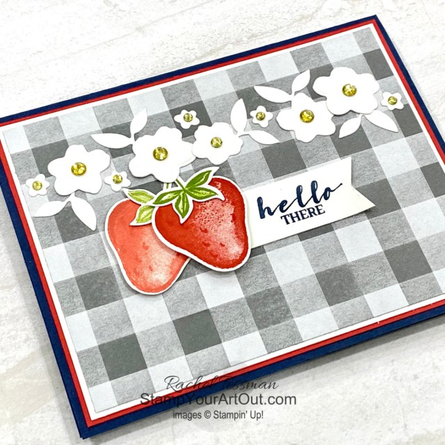 Click here to see how to make this Sweet Strawberry card using the Sweet Strawberry Stamp Set, Strawberry Builder Punch, Peach Dies, Peaceful Place Designer Paper, Rhinestones, and Daffodil Delight Blends Marker. Access more photos, measurements, directions, and a supply list by clicking here. Stampin' Up!® - Stamp Your Art Out! www.stampyourartout.com