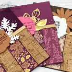 """If you have some stunning or amazing designer paper, show it off with this quick and easy 4-panel layout. The cards I share feature the limited-time In Your Words Stamp Set, the Blackberry Beauty Designer Paper, the Cork Specialty Paper, dies and punches, the Gilded Leafing, and the ¼"""" Gold Shimmer Ribbon. Click here to access measurements, directions, a link to the how-to video, other close-up photos, and links to the products I used. - Stampin' Up!® - Stamp Your Art Out! www.stampyourartout.com"""
