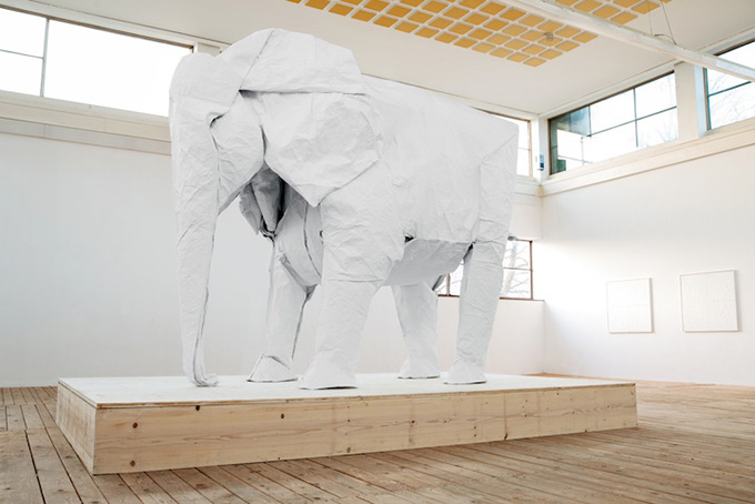 White-Elephant-A-LifeSize-Origami-Elephant-Folded-From-a-Single-Giant-Piece-of-2